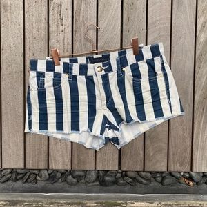 JUICY JEAN COUTURE Navy White Striped Denim Shorts